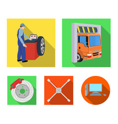 Wheel balancing spanner and brake disc flat icons vector