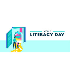 World literacy day web banner for kids education vector