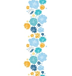 Blue and yellow flowersilhouettes vertical vector image vector image