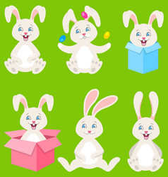 collection happy easter bunnies with eggs gift vector image