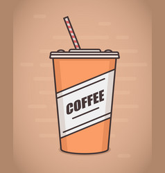 Flat style paper coffee cup vector