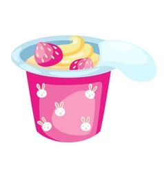 strawberry yogurt vector image