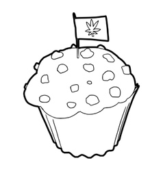 Cake and flag with marijuana leaf icon vector
