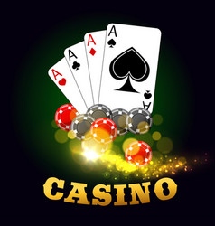 casino poster with poker cards suits and dices vector image vector image