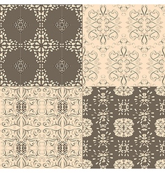 Flower seamless pattern set floral designed vector image