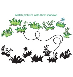 Grass and flowers cartoon - game for children vector image vector image