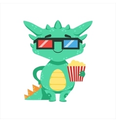 Little anime style baby dragon in movie theatre in vector