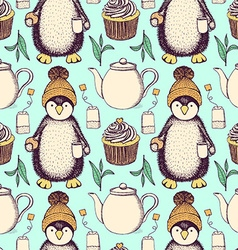 Sketch pinguin in hat with tea vector image vector image