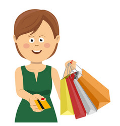 woman giving credit card posing with shopping bags vector image