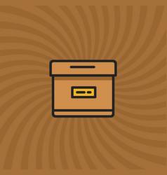 archive box icon simple line cartoon vector image