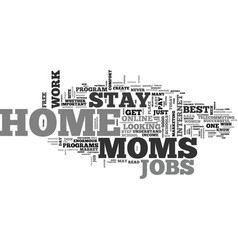 best jobs for stay at home moms text word cloud vector image