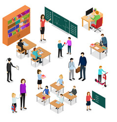 children student and teacher education concept 3d vector image