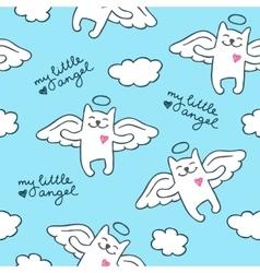 hand drawn cats angels vector image vector image