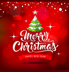 merry christmas white lettering vector image vector image