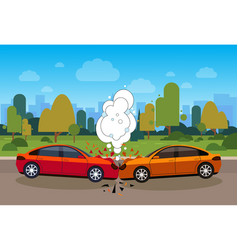 scene of car accident danger on road concept vector image