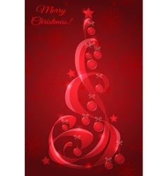 Stylized glass christmas tree with christmas balls vector