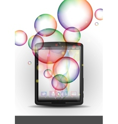 Tablet Pc With Bubble Background vector image
