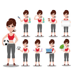 beautiful woman in sport outfit set vector image