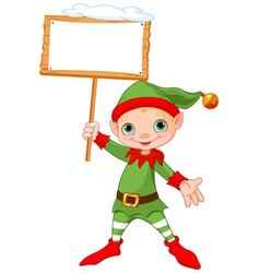 Christmas Elf with sign vector image vector image