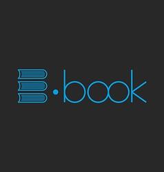 E-book logo abstract letter E of books mockup shop vector image