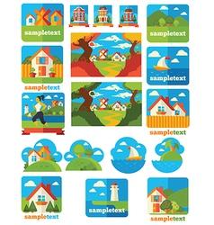 landscape emblems vector image vector image