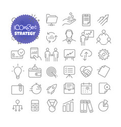 outline icon set pictogram set strategy vector image