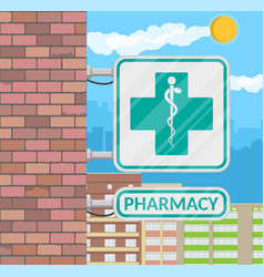 pharmacy sign on wall vector image