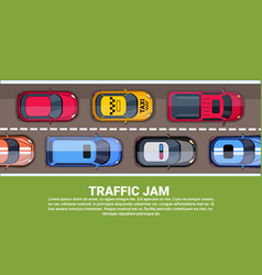 road full of different cars top angle view of vector image
