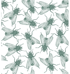 Seamless flies pattern in engraved style vector image vector image