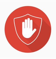 shield with hand block icon in flat style with vector image vector image