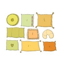 Types of sleeping pillows set vector image