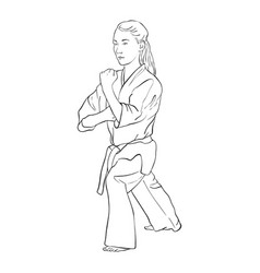 young karate girl vector image