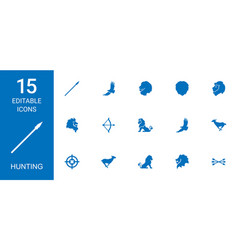 15 hunting icons vector