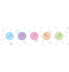 5 explosion icons vector image