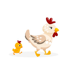 Adorable fowl family isolated on white background vector