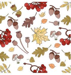 Autumn rowan nature seamless pattern illust vector