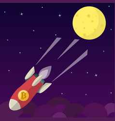 bitcoin icon rocket ship in flat style vector image