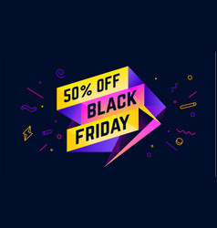 Black friday 3d sale banner with text 50 percent vector