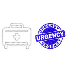 Blue scratched urgency stamp seal and web mesh vector