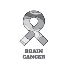 brain cancer awareness papercut ribbon vector image