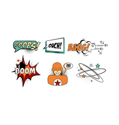 bright comic speech bubbles set text sound vector image