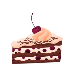 Cake with cherry and custard on white background vector