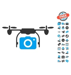 Camera Drone Icon With Free Bonus vector