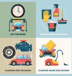 car dry cleaning water wash service foam sponge vector image