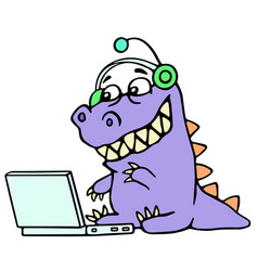 cartoon blogger croc played on laptop vector image