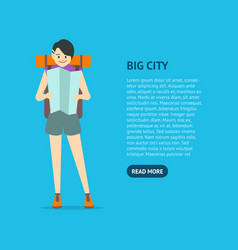 cartoon character young woman travel card vector image