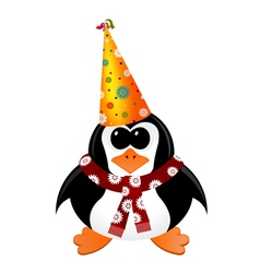 Cartoon penguin with Party Hat and scarf vector image