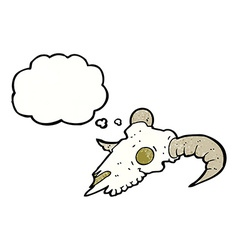 Cartoon ram skull with thought bubble vector