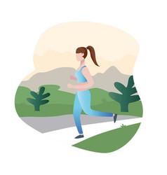 cartoon running woman female sprinter running in vector image