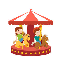 Children have fun in park and ride on carousel vector